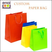 Colorful custom twisted handles brand craft paper bag for shopping and packaging
