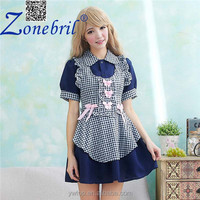 Latex Japanese Anime Maid Clothing Blue plaid Costume Pattern DS Performance Clothing Game uniforms