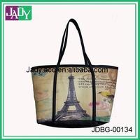 Fahion foldover art floral custom printed carry bag