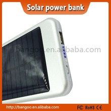 High quality Aluminum casing super thin solar power bank silver color fast charging solar power bank