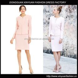 Ladies Chic Design Zipper Front Peplum Skirt Suit Work