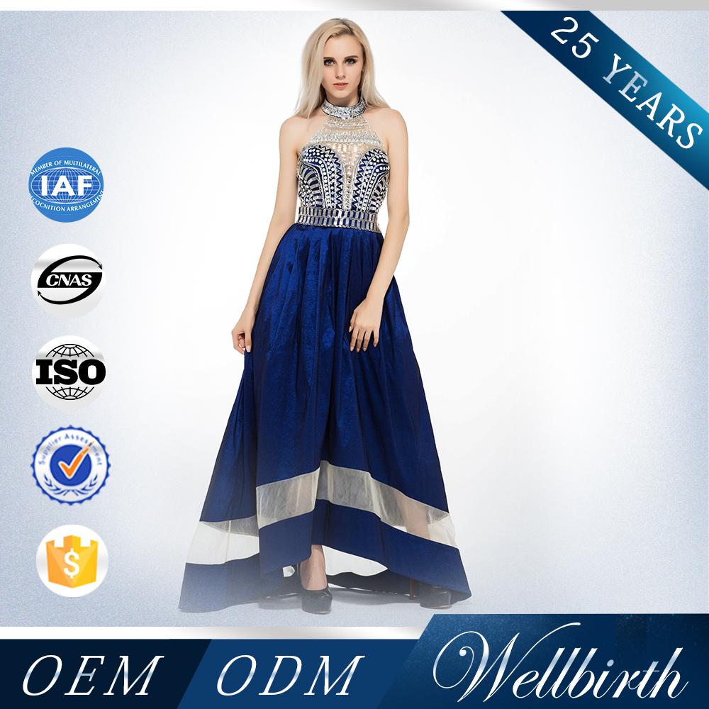 2015 por encargo del vestido de partido atractivo de moda de encaje sin mangas <span class=keywords><strong>azul</strong></span> vestido de noche largo