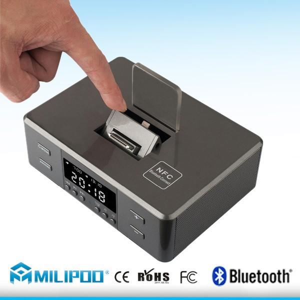fm radio alarm clock bluetooth speaker charging docking station for iphone an. Black Bedroom Furniture Sets. Home Design Ideas