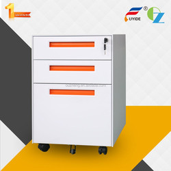 High quality pretty high gloss office white steel movable file cabinet pedestal with inter-locking system