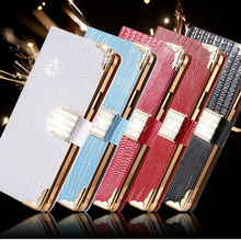 Newest Top Quality Phone Case silk Texture Horizontal Flip Leather Case with diamond and stand function case for Samsung Note 4