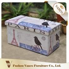Wholesale PVC Faux Leather storage folding ottoman