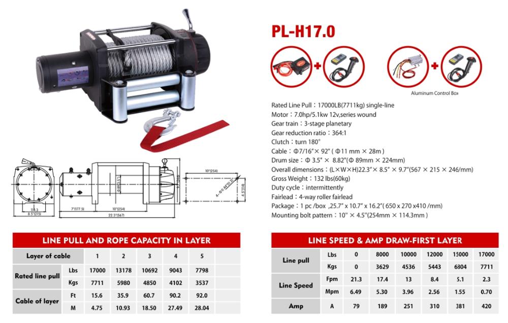17000lbs 12V electirct winch Wireless