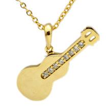 gold guitar micro pave CZ stone necklace pendant