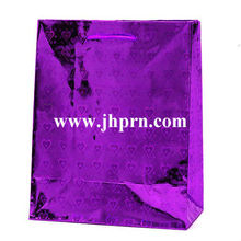 Purple Holographic Hearts Paper Bag