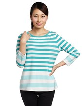 women's white with blue stripe and long sleeves rock t-shirt