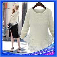 Women Computer Knitted Pullover Lace Hem Edges Crochet Sweater Lace Pattern