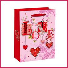 Hot sale love pattern 2014 new design paper carry bag