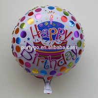 18 inch foil material round shape balloon with happy birthday pictures print