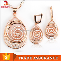 2015 graceful classical morning glory shape jewelry set gold plating 925 silver jewelry set for women