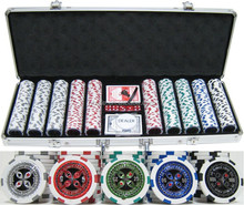 500pcs sticker poker chip set in Silver aluminium case