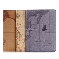 For iPad Air 2 Cover, World Map Leather Case For iPad Air 2