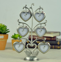 Pewter Color Happy Family Standing Tree Heart Shape 1.5x1.5'' Metal 6 Photo Collage Alloy Picture Frame For Gifts