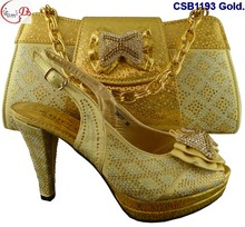 New coming gold ladies weeding/christmas party shoes with high heel and matching purse bag fashion stones shoes match bag