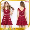 2015 New Design V Neck Red Sleeveless Casual Dress for Women