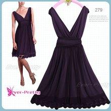 Lady's Purple Empire Waist Cocktail Dress 00279PP