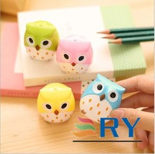 2015 Cute animal cartoon color owl shape pencil sharpener