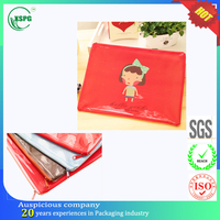 Professional waterproof girl pattern plastic bag for document