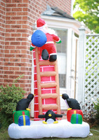 7.2Ft tall Christmas Xmas Santa on Ladder with Gift Box Lights Inflatable Party Kids