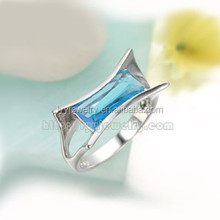 silver ring cz color selection, shell shape pendant with blue stone