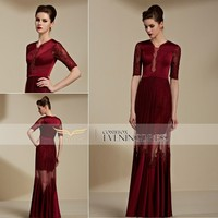 82081 Wholesale Elegant Wine Short Sleeve Luxury Tulle Prom Dresses