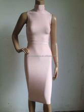 2015 new arrival women top quality latest nude high neck bandage dress wholesale black blue