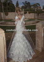 2014 Oved cohen Cheap saxi wedding gown ZH067 feathered detached wedding gowns for fat bride long sleeve