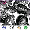 100% Polyester Material fabric black feather print dress fabric
