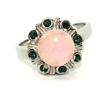 Natural Gemstone with Sunflower Design in Stainless Steel Ring