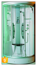 New design curved glass shower enclosure with mirror