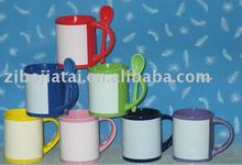 Ceramic Colored Sublimation Coated Spoon Mug