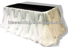 IDA 2015 new white chiffon table skirt, wholesale white chiffon table skirt, white chiffon table skirt for wedding (IDATS01)