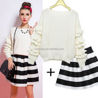 OEM Factory 2015 New Elegant Stripe Casual Sweater Skirt Suit