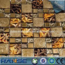 B-22-15 material de la mezcla de lujo del color del oro barato mosaico de mármol piso medallón de china