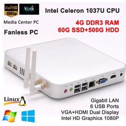 Latest computer models intel Celeron 1037U processor 1.8GHz dual core 4G DDR3 RAM 60G SSD 500G HDD 300M WIFI Bluetooth 1080P HD