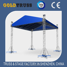Blue canopy of aluminum roof trusses, flat roof truss structure, arc roof truss