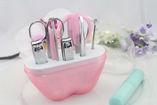 Pink Apple Design 9pc Manicure Pedicure Tool Set Bridal Shower Wedding Favor