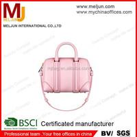 2015 top grain lady pink pu leather handbags , woman shoulder bags , genuine leather handbag