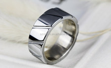 Tungsten Ring Men with Oblique Parallel Grooved Jewelry