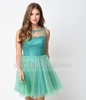 S1564 Amazing o-neck beading sleeveless short party dress dark green