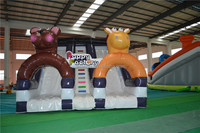 Commercial Double Lane Happy Circus Inflatable Slip and Slide for Kids