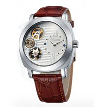 skone s80030 Genuine Leather tourbillon mechanical watch