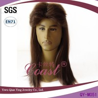 Long fashion brown straight synthetic hair wigs for men