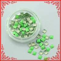 G016-2 Profashional 50 Boxes Green Color Square Style Best Deals On 3d Metal Nail Decoration