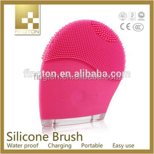 Rechargeable, waterproof silicone ultrasonic silicone brush facial brush face massager beauty instrument