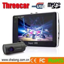 Top sales dual camera 140deg Anti-theft GPRS SIM card double hd car dash cam